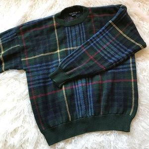 VINTAGE NAUTICA GREEN BLUE PLAID SWEATER